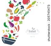 vegetables background diet... | Shutterstock .eps vector #205745473
