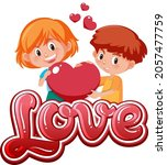 boy and girl holding heart icon ... | Shutterstock .eps vector #2057477759