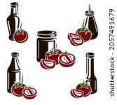 tomato set. collection icon...   Shutterstock .eps vector #2057491679