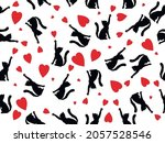 seamless pattern black cat with ... | Shutterstock .eps vector #2057528546