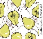 pattern with ripe pears.... | Shutterstock .eps vector #205754566