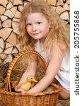 cute little girl with duckling... | Shutterstock . vector #205755868