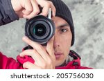 closeup of young man in winter... | Shutterstock . vector #205756030