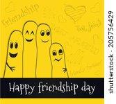 happy friendship day background ... | Shutterstock .eps vector #205756429