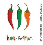 vector set of peppers and...   Shutterstock .eps vector #2057602130