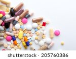 colorful pills and  capsules on ... | Shutterstock . vector #205760386