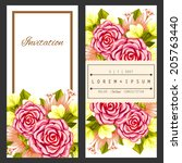 set of invitations with floral... | Shutterstock .eps vector #205763440