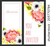 set of invitations with floral... | Shutterstock . vector #205770784
