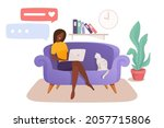 smart woman sitting on the... | Shutterstock .eps vector #2057715806