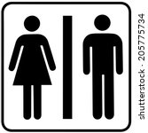 A Lady And A Man Toilet Sign O...