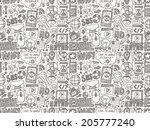 doodle internet web seamless... | Shutterstock .eps vector #205777240
