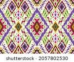ikat geometric folklore... | Shutterstock .eps vector #2057802530