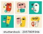 set of hand drawn various faces ... | Shutterstock .eps vector #2057809346