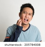asian male toothache with... | Shutterstock . vector #205784008