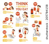 think before you eat... | Shutterstock .eps vector #205784158
