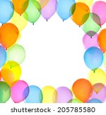 Colorful balloons frame white...