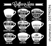 set of coffee menu with a cups... | Shutterstock .eps vector #205790296