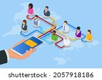 isometric social network... | Shutterstock .eps vector #2057918186