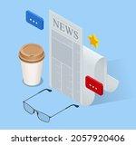 isometric business news concept.... | Shutterstock .eps vector #2057920406