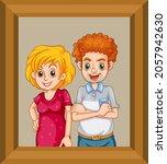 happy couple photo on wooden... | Shutterstock .eps vector #2057942630