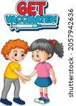 two kids cartoon character do... | Shutterstock .eps vector #2057942636