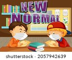 new normal with students keep... | Shutterstock .eps vector #2057942639