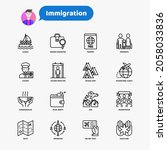 immigration thin line icons set ... | Shutterstock .eps vector #2058033836