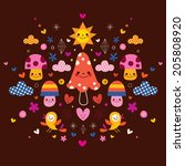 mushrooms  flowers  hearts  ... | Shutterstock . vector #205808920
