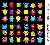 monster icon super big set....   Shutterstock .eps vector #2058125189