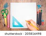 top view of school accessories... | Shutterstock . vector #205816498