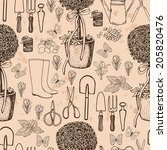 garden retro pattern.  seamless ...   Shutterstock .eps vector #205820476