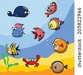 cartoon cute sea  fishes  | Shutterstock .eps vector #205822966