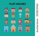 flat houses  buildings icons ... | Shutterstock .eps vector #205825960