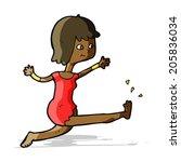 cartoon happy woman kicking | Shutterstock . vector #205836034
