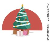 christmas tree and gift box   Shutterstock .eps vector #2058393740