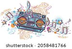 music design   funky colorful... | Shutterstock .eps vector #2058481766