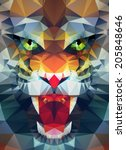 abstract polygonal tiger.... | Shutterstock .eps vector #205848646