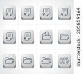 Documents Icons and Folder icons set on button - stock vector