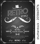 retro poster blackboard design | Shutterstock .eps vector #205860976