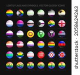 lgbtq pride flags and symbols... | Shutterstock .eps vector #2058624263