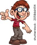 cartoon nerd or geek. vector... | Shutterstock .eps vector #205866454