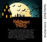 abstract happy halloween... | Shutterstock .eps vector #205870096