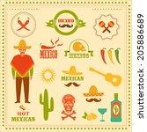 vector mexican icons  mexico...   Shutterstock .eps vector #205886689