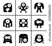 funny monster icons set vector...