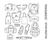 vector set of sketch bags.... | Shutterstock .eps vector #205890406