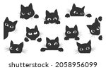 black kitty look. cat spy... | Shutterstock .eps vector #2058956099