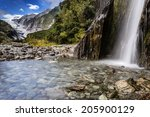 waterfall in franz josef... | Shutterstock . vector #205900129