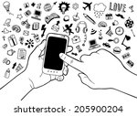 hand drawn mobile phone in... | Shutterstock .eps vector #205900204