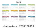 simple calendar for 2023 year.... | Shutterstock .eps vector #2059100159