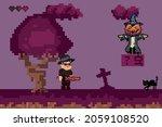 halloween pixel game. retro art ... | Shutterstock .eps vector #2059108520
